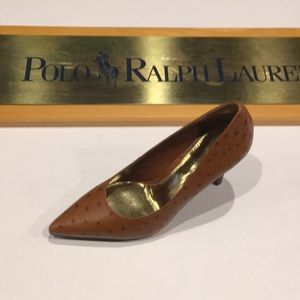 Ralph Lauren faux ostrich leather high heel shoes